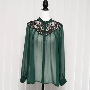 Collective Concepts Sheer Green Blouse with Lace